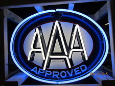 """Old AAA Approved Double-Sided Porcelain Sign with Neon 30""""W x 24""""H - DSPN"""