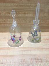 Lot 2 Glass 24 Lead Crystal Bells Avon Butterfly & Flowers Clear