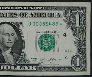"""2013 $1 (ONE DOLLAR) – STAR NOTE – CURRENCY, BILL – """"D"""""""
