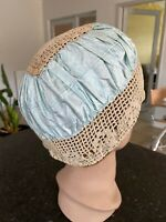 Antique Boudoir Bonnet 1920s Crochet Lace Cap Hat Pale Blue Silk Blend Hand Sewn