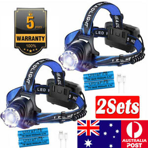 2X Zoom Headlamp 90000LM Rechargeable T6 LED Headlight Flashlight Head Torch AU