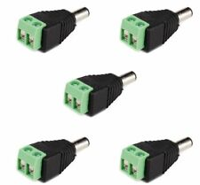 5 Pack Dc Power Male Plug Jack Cable Adapter Socket Connector Plug for Led Cctv