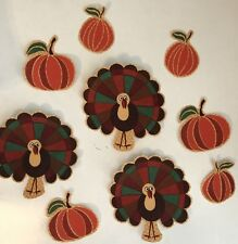 Turkeys and Pumpkins- Iron On Fabric Appliques Fall, Thanksgiving Patches