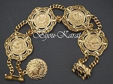 Altin Ceyrek Tugra Bileklik Bilezik Münzen Gold Münz Armband 24 Karat Vergoldet