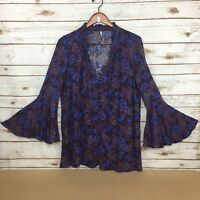 Free People Size XS Magical Mystery Floral Tunic Dress Bell Sleeves Oversized