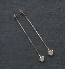 SOLID 925 STERLING SILVER LONG PULL THRU THREADER MOTHER PEARL EARRINGS