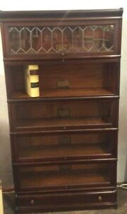 ORIGINAL 1905 GLOBE- WERNICKE 5 SHELF BOOKCASE WITH DRAWER- EXCELLENT CONDITION