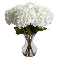 Large Hydrangea with Vase Silk Flower Arrangement, White