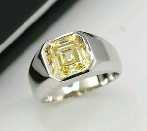 Modern And Sleek Men's Wedding Ring 14K White Gold 2.90Ct Cushion Cut Diamond