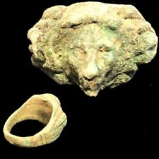 Ancient Roman Bronze Bust Finger Ring - 200-400 Ad (1)