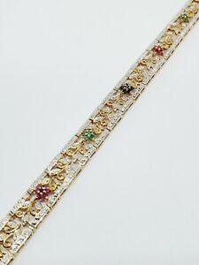 Ross Simons Gold over 925 Sterling Silver Emerald Ruby Sapphire Flower Bracelet