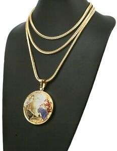 """World is Yours scarface14K Gold Pt Jumbo Globe w 16""""18""""22"""" FRANCO Chain 3097"""