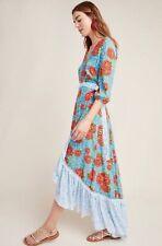 NWT Anthropologie FARM RIO SUSANNE DRESS Blue Floral MAXI WRAP Check Ruffle Hem