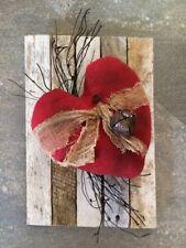 Primitive Handmade Valentines Heart Rusty on Vintage Slat Rusty Bell Wall Tuck