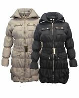LADIES WOMEN LONG QUILTED PADDED WAIST BELT PUFFER COAT WARM WINTER PUFFA JACKET