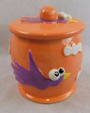 Dog Bowl Canister/Treat Container  And Water Bowl Orange w Purple Bird Must See