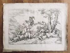 Flight to Egypt with Shepherd Giovanni Benedetto Castiglione Baroque Engraving