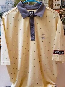 Footjoy Titleist Tour Patch Logo Golf Polo Men's XL Yellow Knit Shirt FJ