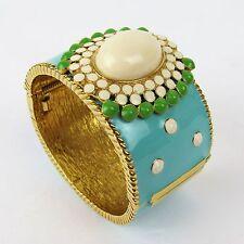 Stella & Dot Wide Enamel Cuff Bracelet Hand Painted Blue Goldtone Cream Cabochon