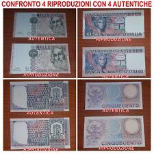 4 RIPRODUZIONI BANCONOTA ITALIANA LIRE MONETA FDS UNC OTTIMA IDEA REGALO NATALE