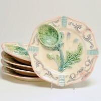 GROUP OF 5 ANTIQUE 19TH C. FIVE-LILLE FRENCH MAJOLICA ARTICHOKE ASPARAGUS PLATES