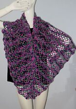 New Handmade Crochet Purple Green Pink Soft Acrylic Rectangle  Shawl Wrap Scarf