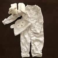Infant Sheep Sleeper w/ Matching Hat, Carter's Brand, Sz 3 Mos, Snap Closure