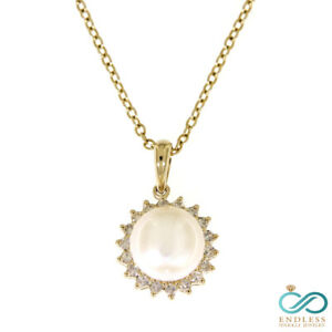 2.19 Carat 14K Yellow Gold Real Diamond Delicate Pearl Pendant Jewelry For Her