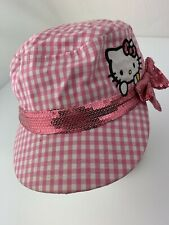 Hello Kitty Pink White Plaid Sequin Fitted Girls Ball Cap Hat