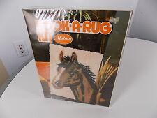 "Nos Malina Horse vintage Hook A Rug Kit Latch Rug Wall Hanging 20"" X 27"", Usa"