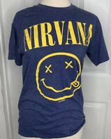 Nirvana Kurt Cobain Cotton Blue Yellow Short Sleeve T-Shirt Men's Small BAND TOP