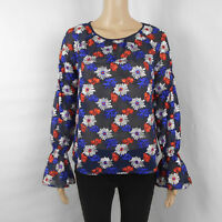 Ella Moss Embroidered Floral Navy Blue Sheer Long-Sleeve Blouse Size S Small