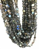 Labradorite Faceted Coin Beads, Natural Gemstone Beads, Wholesale Beads, Bulk Be