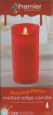 Premier Battery Dancing Flame Melted Edge Effect LED Flickering Candle 18cm RED