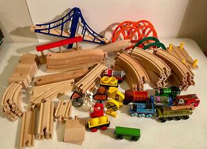 Thomas The Train Wooden Railway Lot Railroad Set Of Trains Tracks Bridge