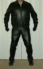 Ralph Lauren Black Leather Sheepskin Windbreaker Jacket L - Chaps Label