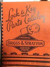Briggs & Stratton car lock & key CATALOG manual 1929 - 1941 ILLUSTRATED PARTS
