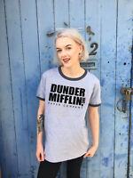 Dunder Mifflin, The US Office | Grey Ringer T-Shirt Michael Scott Dwight Schrute