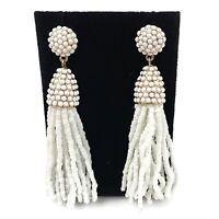 Gold Tone White Seed Bead Fringe Tassel Drop Dangle Statement Earrings Boho Chic