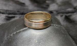 14K Two-Tone Gold 6.8mm Wedding Band Ring SZ 10.5 Frederick Goldman FG Mens