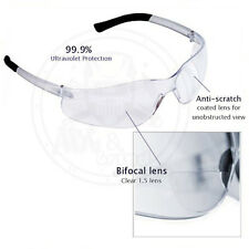 (3 Pack) Bifocal Safety Glasses Clear 1.0 Diopter Reader Safety Glasses