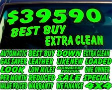 Car Dealer Windshield Stickers Die Cut Chartreuse and Black Slogans (30 packs)