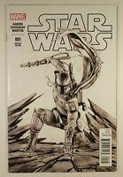 Star Wars #1 - 9.6 NM Adi Granov's Boba Fett B/W Sketch Variant Forbidden Planet