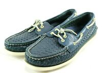 Sperry Top Sider AO 2 Eye $90 Women's Weave Boat Shoes Size 10 Blue Leather
