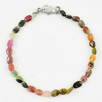 37.00 Cts Natural Watermelon Tourmaline Untreated Oval Shape Beads Bracelet (RS)