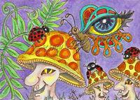 Mushroom  Man eye Butterfly ladybug ACEO EBSQ Kim Loberg Mini Art Fantasy forest