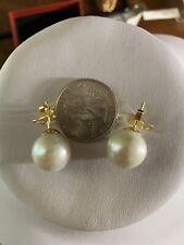 18K Saudi Gold South Sea Ivory Pearl Earring 13mm