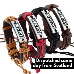 Leather bracelet WWJD Christian What Would Jesus Do? Wristband Mens Womens Kids