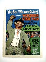 """1916 Collectable Poster Stamp """"Wisconsin State Fair"""" Great Colors *"""