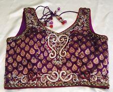 "36"" S Designer Saree Blouse Indian Bollywood Sari Choli Top Purple Gold Y99"